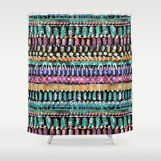 Painterly Tribal Black Shower Curtain