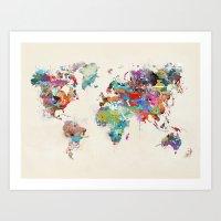 World Map Watercolor Art Print
