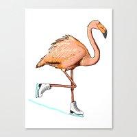Flamingo on ice Canvas Print