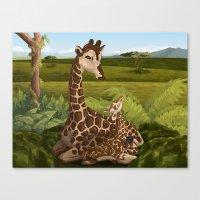 Giraffes, A Mother's love Canvas Print