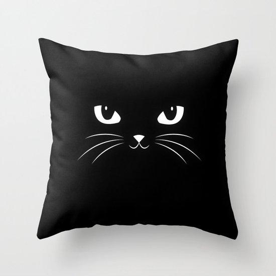 Cute Black Pillows : Cute Black Cat Throw Pillow by Badbugs_art Society6