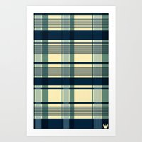 Blue Plaid Pattern Art Print
