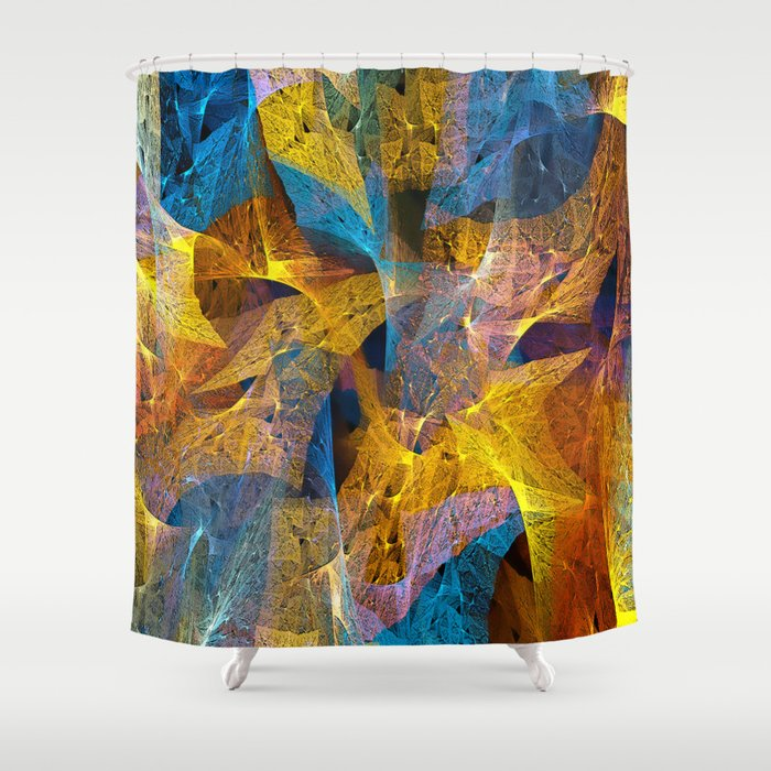 Gold Amp Blue Abstract Shower Curtain By Klara Acel