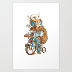 Cute fallout character - little boy with the bike Art Print