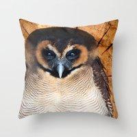Asian Wood Owl Throw Pillow