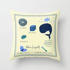 Colors: blue (Los colores: azul) Throw Pillow