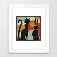 CAT AND BUNNY 2 Framed Art Print