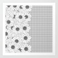 Daisy Grid On Side Art Print