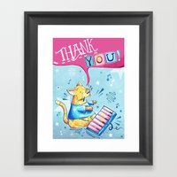 Keyboard Cat Says Thank … Framed Art Print