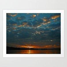 Cloudy Sunrise on Lake Oconee Art Print