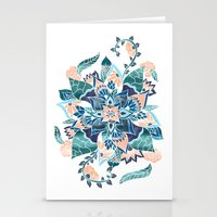 Modern Coral Blue Waterc… Stationery Cards