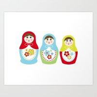 Matrioshka Dolls - Trio Art Print