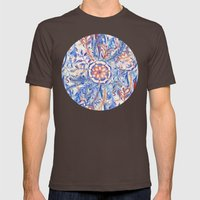 Boho Flower Burst in Red and Blue Mens Fitted Tee Brown SMALL