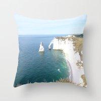 Cliffs at Etretat Throw Pillow