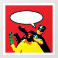 Robin and Bat Man in Action Art Print