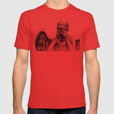 Weeping Angel Mens Fitted Tee Red SMALL