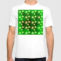 Exquisite Christmas snowflakes on bold green texture Mens Fitted Tee White SMALL