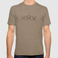 3 Wise Cats Mens Fitted Tee Tri-Coffee SMALL