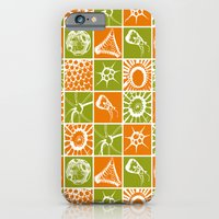 Microscopic Life Sillouetts Orange and Green iPhone 6 Slim Case