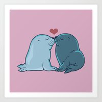 Seal Kisses Art Print