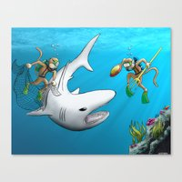 Monkeys Fighting Shark Canvas Print