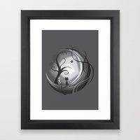 Cat on the moon Framed Art Print