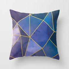 Shattered Sapphire Throw Pillow