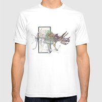 rose-Fish-bone dinosaur Mens Fitted Tee White SMALL