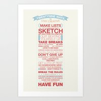 29 Ways to Stay Creative Art Print