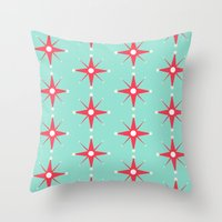 Retro Red Stars Throw Pillow