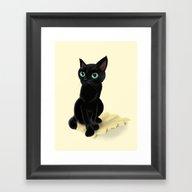 Black Little Kitty Framed Art Print