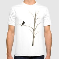 Raven in a Tree White SMALL Mens Fitted Tee