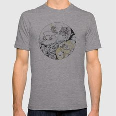 Deer And Leaf In Thin Stripe Mens Fitted Tee Athletic Grey SMALL