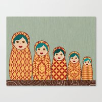 Canvas Print featuring Red and Yellow Matryoshka Nesting Dolls by Elephant Trunk Studio