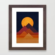 Framed Art Print featuring Full Moon And Pyramid by Budi Kwan