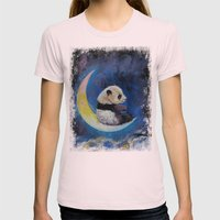 Crescent Moon Womens Fitted Tee Light Pink SMALL