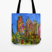 Philly Neon Skyline Tote Bag
