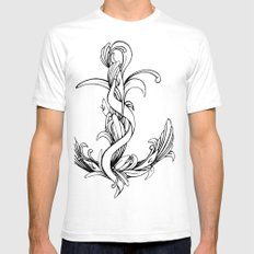 Anchor (outline) White SMALL Mens Fitted Tee