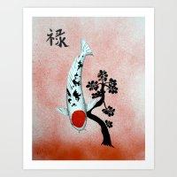Koi Tancho Chinese Jade prosperity Art Print