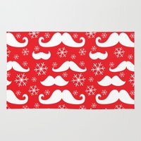 Mustaches and Snowflakes Rug