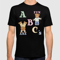 Teddy Bear Alphabet ABC's Green Mens Fitted Tee Black SMALL