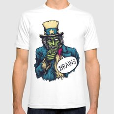 Brains Mens Fitted Tee White SMALL