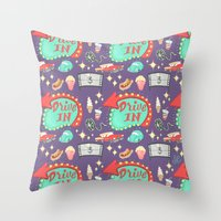 Drive-In Pattern Throw Pillow