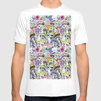 Sad Rainbow Pattern Mens Fitted Tee White SMALL