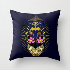 sugarskull bat Throw Pillow