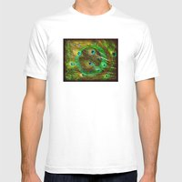 The Peacock Dream In Gold Mens Fitted Tee White SMALL