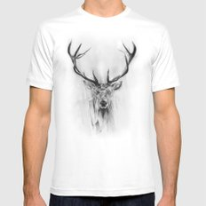 Red Deer SMALL Mens Fitted Tee White