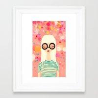Girl with big glasses (II) Framed Art Print