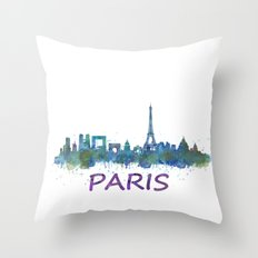 Paris City Skyline HQ  Throw Pillow
