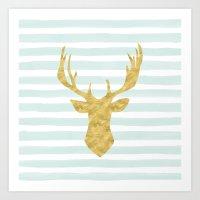 Gold Deer On Mint Waterc… Art Print
